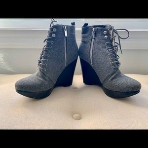 Michael Kors Suede Gray Laced-up Booties